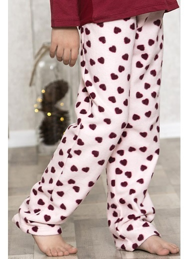 Lingabooms Kadın Pijama Kışlık Polar Kalpli Pantolon Tek Alt Pembe